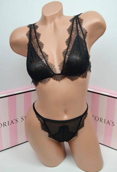 Komplekt bralet Luxe lingerie black chantilly lace