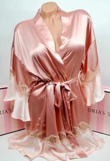 Satinovij halat kimono s kruzhevom rozovij