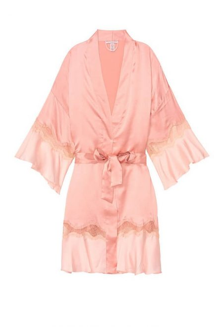 Satinovij halat kimono s kruzhevom rozovij4