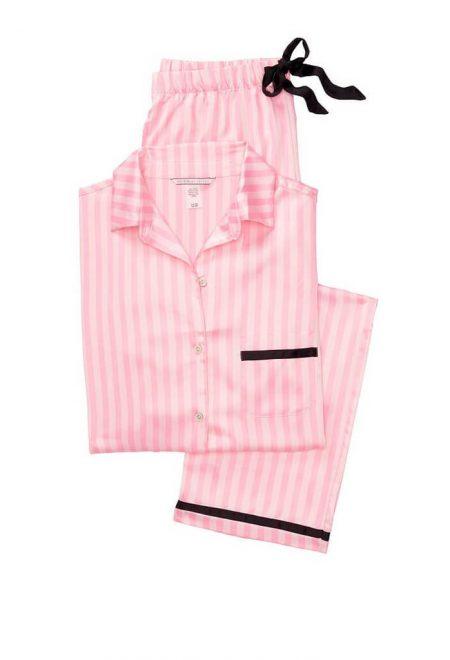 Satinovaia pizhama Afterhours pink iconic stripe