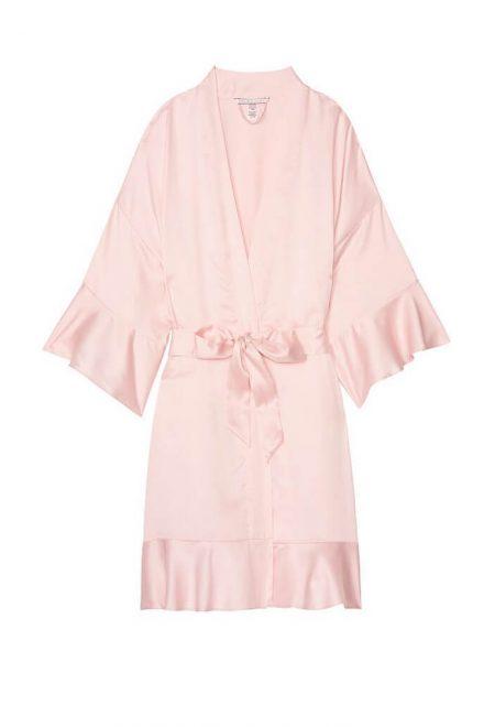 Satinovoe kimono s rishami rozovoe