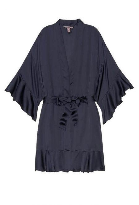 Satinovoe kimono s riushami chernoe