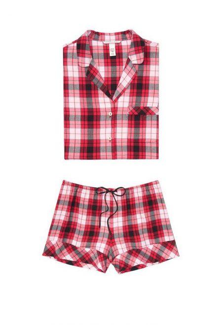 Flanelevaia pizhama Victoria's Secret rubashka i shorti krasnaia kletka