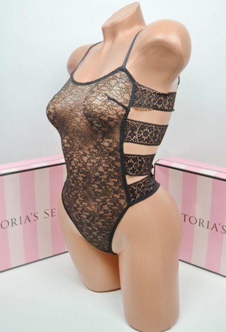 Kruzhevnoe bodi Victoria's Secret floral banded chernoe2