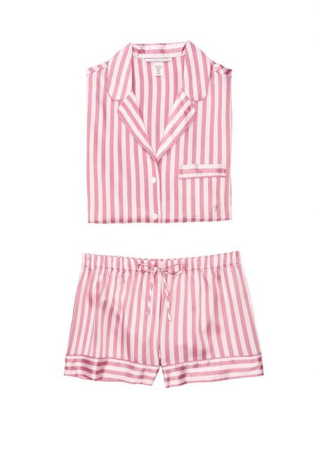 Satinovaia pizhama Afterhours rubashka i shortiki pink mauve stripe