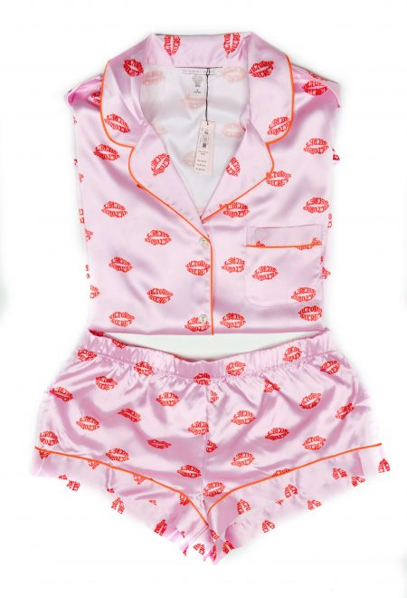 Satinovaia pizhama Afterhours rubashka i shortiki rozovij print