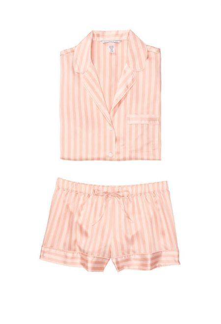 Satinovaia pizhama Afterhours rubashka i shortiki pink peach stripe