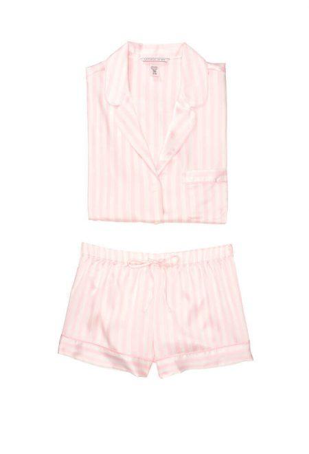 Satinovaia pizhama Afterhours rubashka i shortiki pink white stripe
