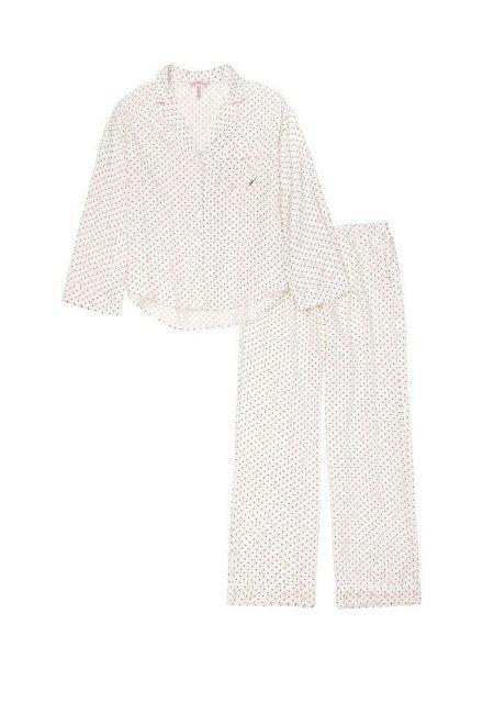 Flanelevaia pizhama Victoria's Secret rubashka i shtani white dot