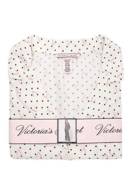 Flanelevaia pizhama Victoria's Secret rubashka i shtani white dot1