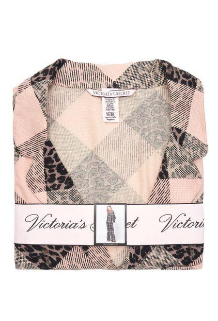 Flanelevaia pizhama Victoria's Secret rubashka i shtani leopardovaia kletka1