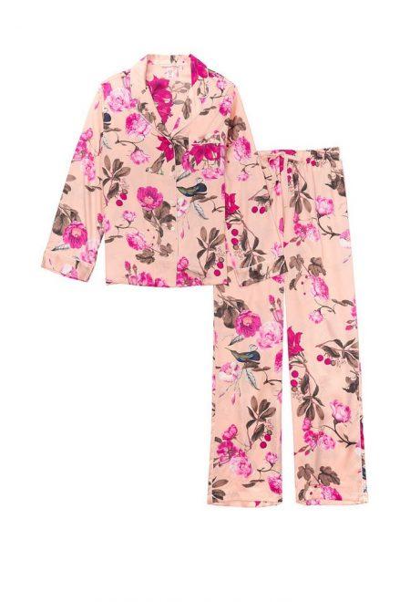 Satinovaia pizhama Afterhours rozovaia s cvetami
