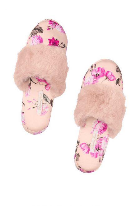 Satinovie tapochki Victoria's Secret rozovie s cvetami