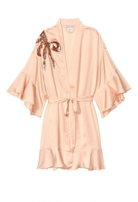 Satinovoe kimono s riushami champagne bow