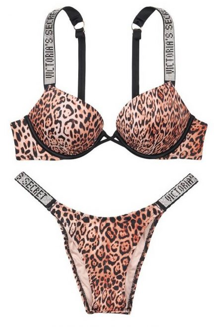 Kupalnik dvoinoi push up Bali Bombshell Shine strap leopard