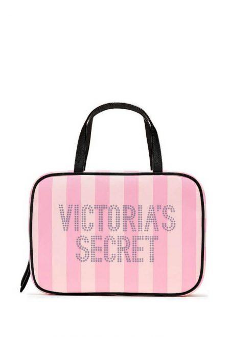 Dorozhnaia kosmetichka Victoria's Secret rozovaia poloska logo
